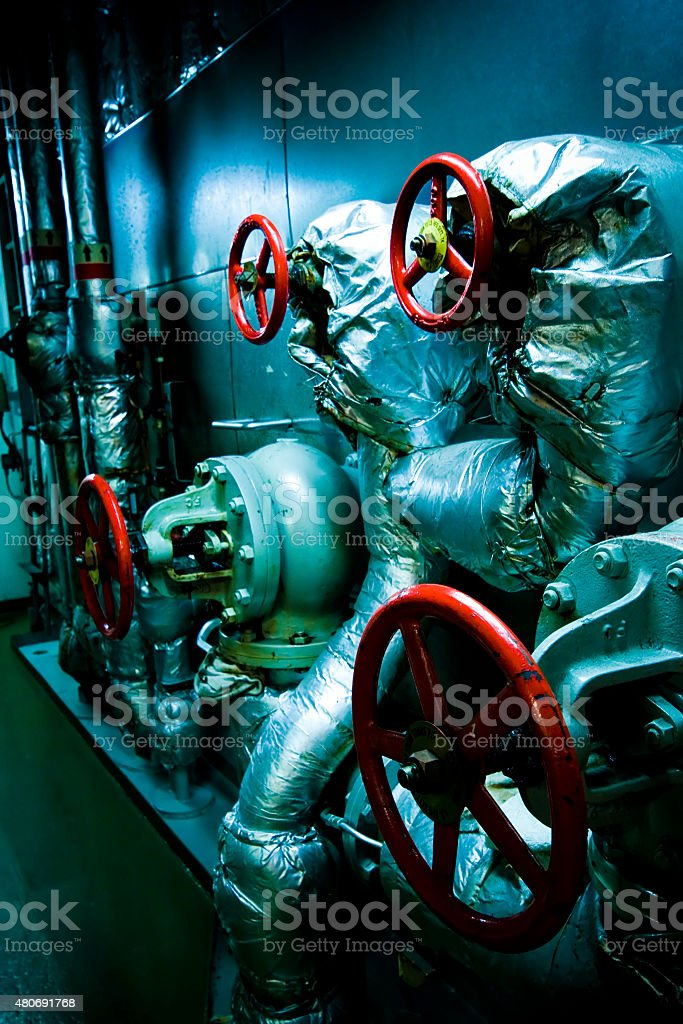 Vessel's ( Ship ) Engine Room Space stock photo