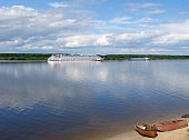 Vessels on the river Volga, Yaroslavl region, Russia.