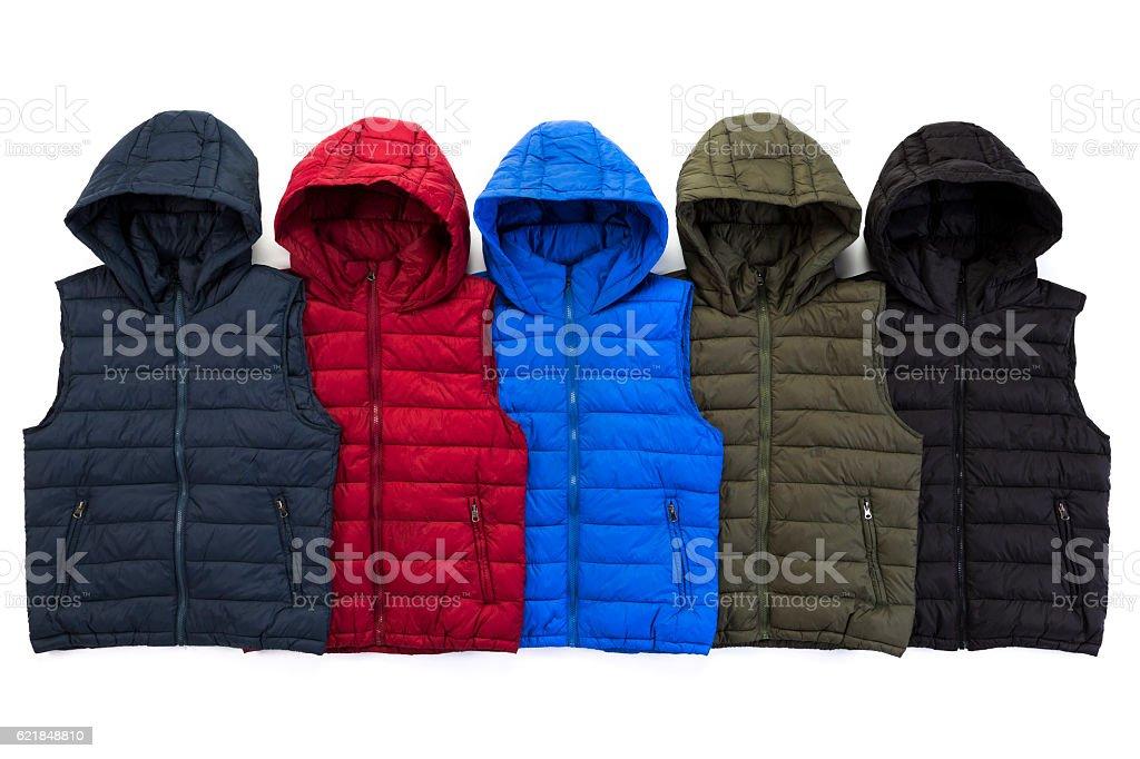Vest down jacket group on background – Foto