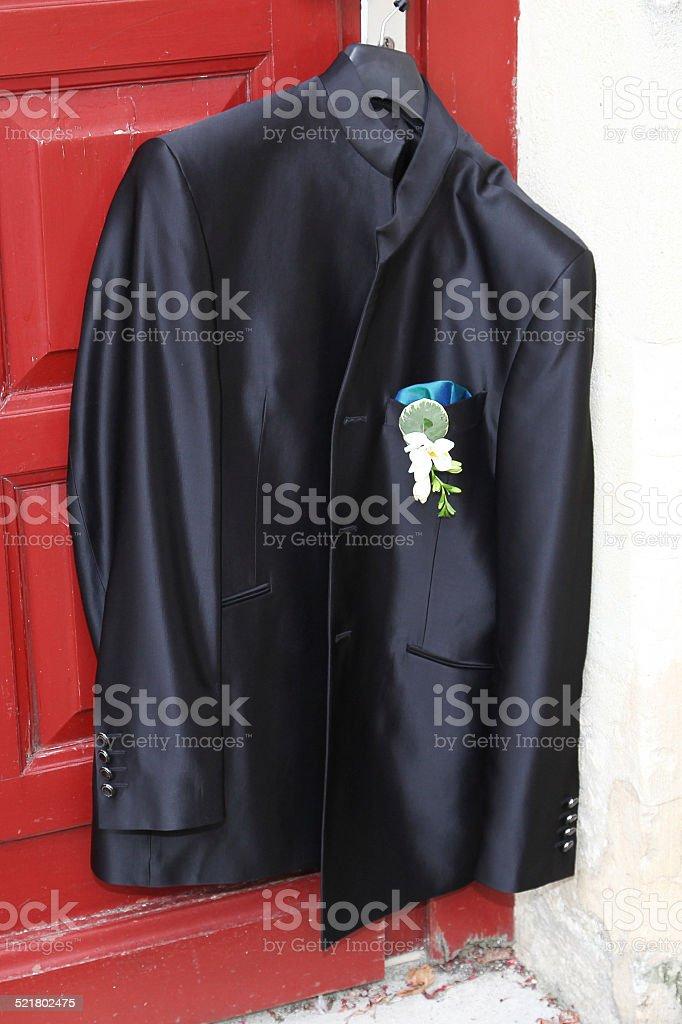 Veste costume marié avec boutonnière stock photo