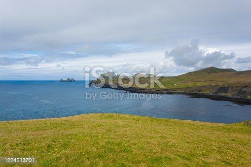 istock Vestmannaeyjar island beach day view, Iceland landscape. 1224213701