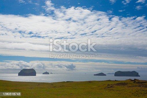istock Vestmannaeyjar island beach day view, Iceland landscape. 1280518743