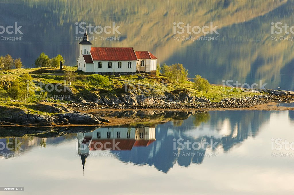 Vestpollen chapel in Austnesfjord, Lofoten Islands, Norway, Scandinavia, Europe stock photo