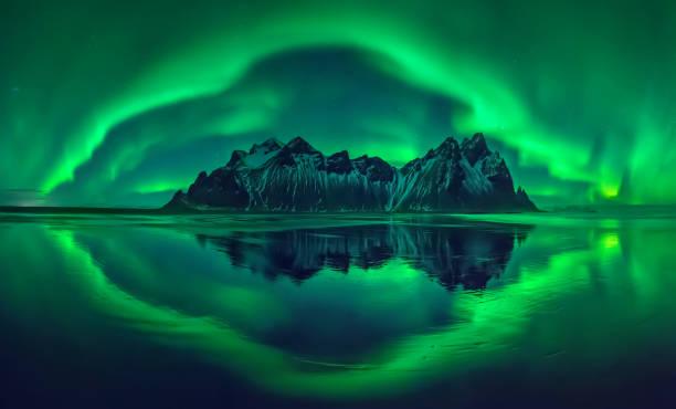 Vestrahorn aurora stock photo
