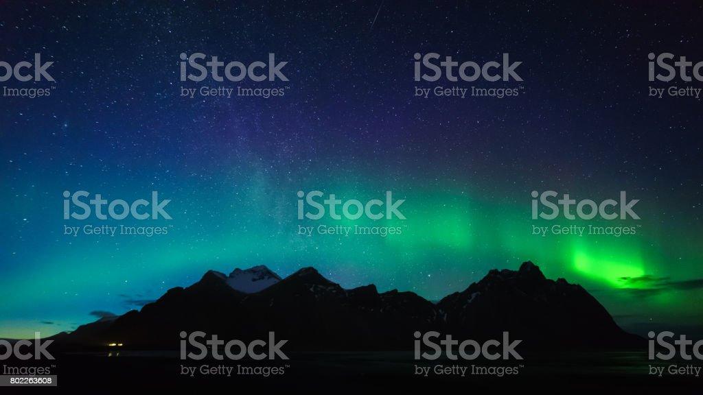Vestrahorn mountain with Aurora borealis, Iceland stock photo
