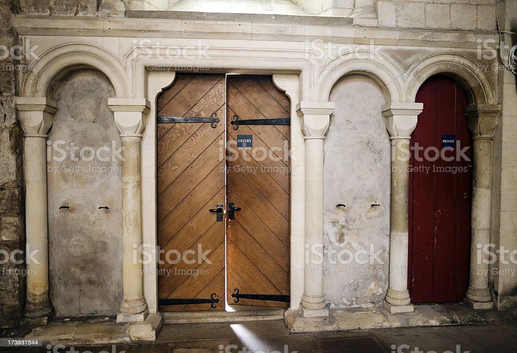 Vestry door stock photo
