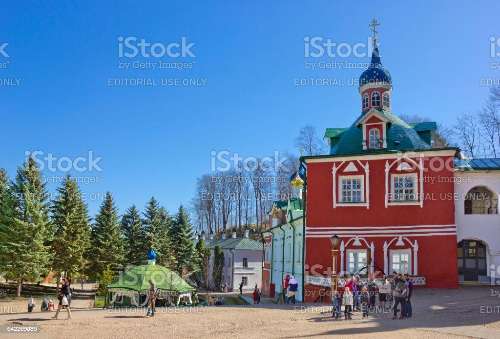 Vestry in  Pskovo-Pechersky monastery, Russia stock photo