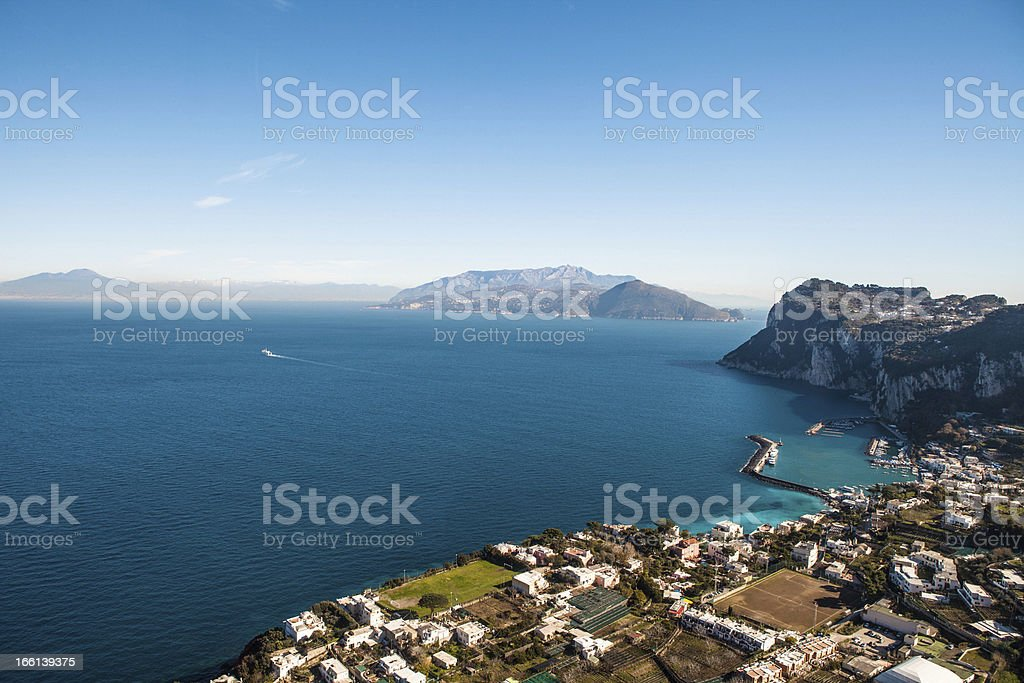 Vesuvio and Sorrento Coast Seen From Capri, Italy. royalty-free stock photo