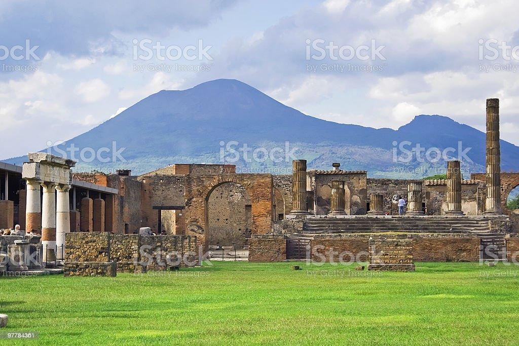 Vesuvius and Pompeii stock photo