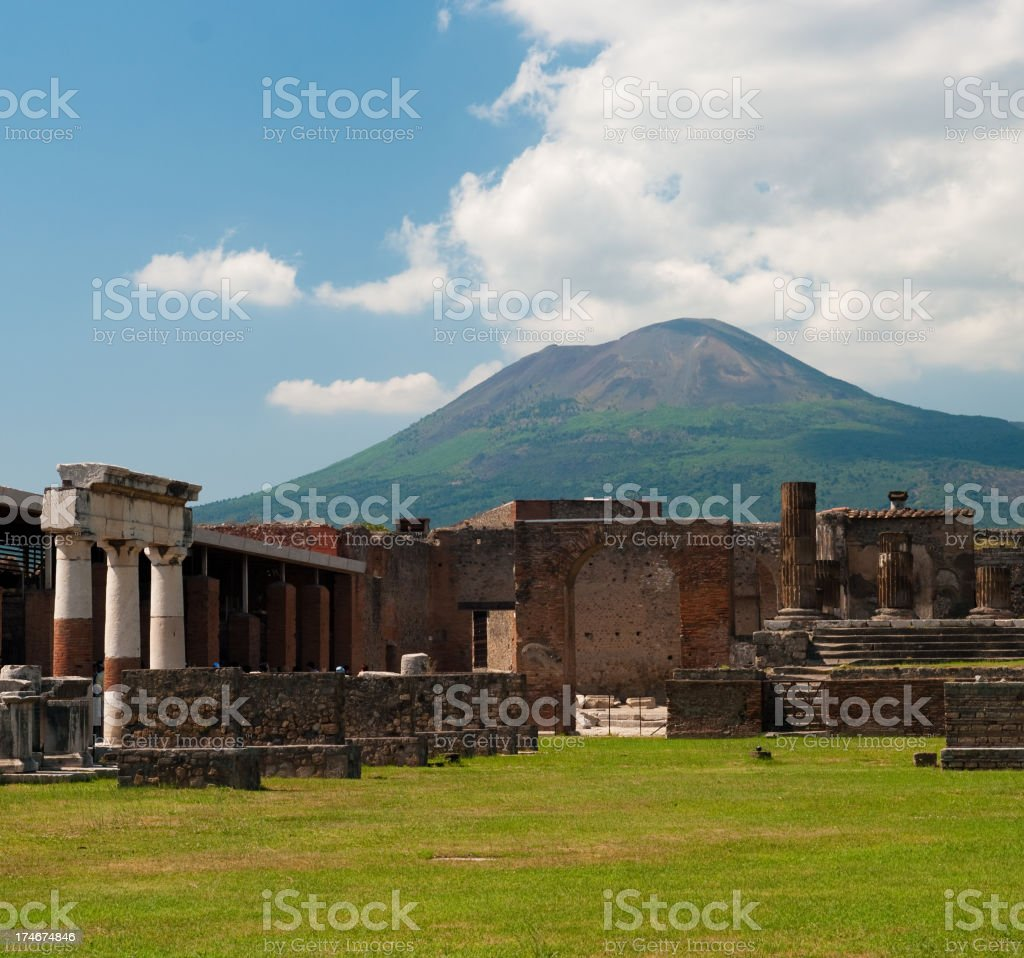 Vesuvius and the ruins of Pompeii on a bright cloudy day stock photo