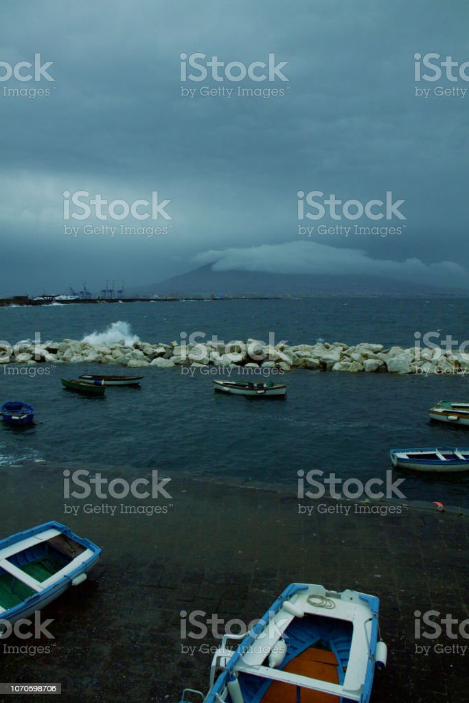 Vesuvius in winter stock photo