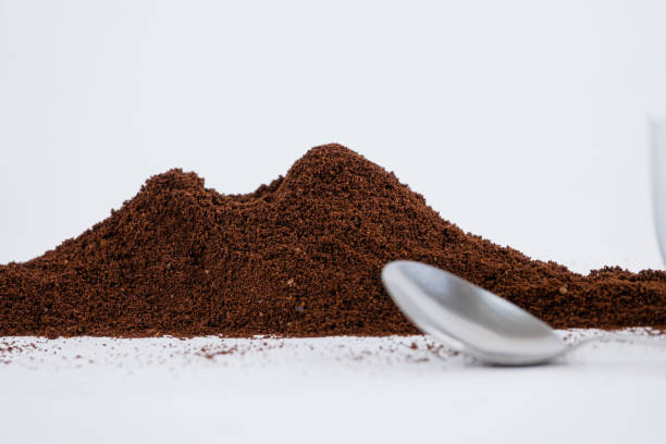 Vesuvius of Naples made with coffee powder with spoon - foto stock