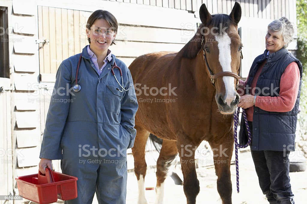 Vet In Discussion With Horse Owner royalty-free stock photo