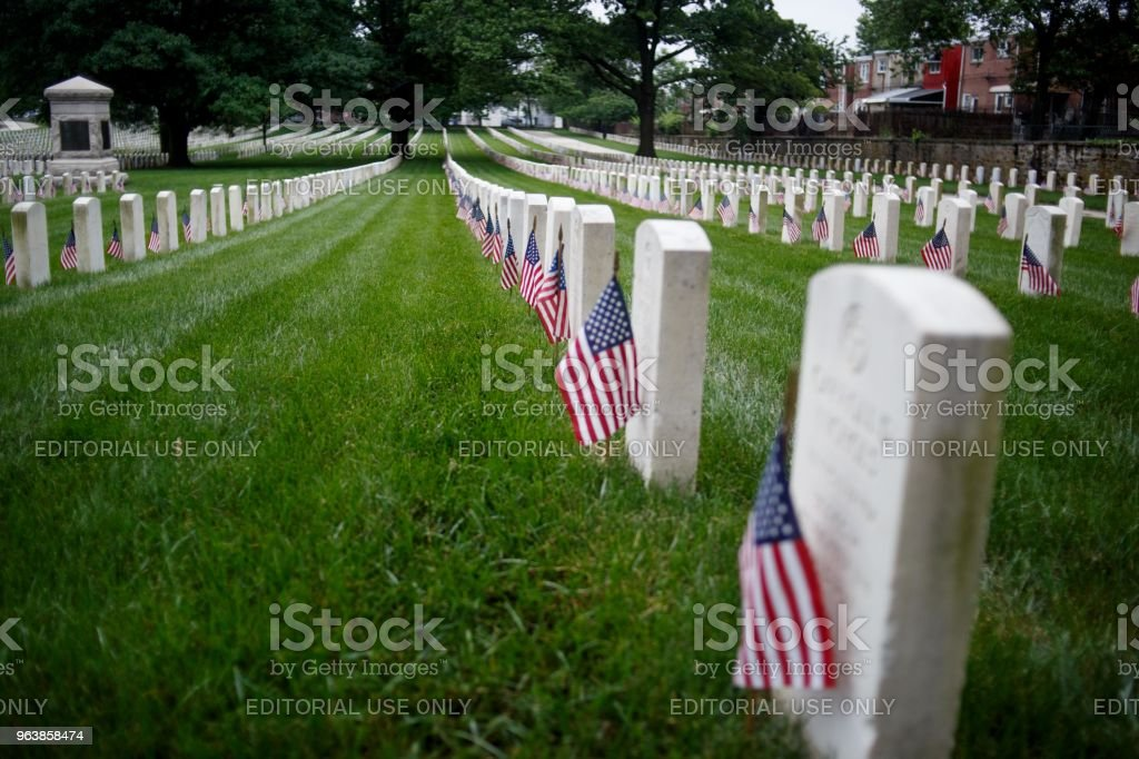 Veteran Cemetery Before Memorial Day, Philadelphia, USA - 27 May 2018 - Royalty-free Armed Forces Stock Photo