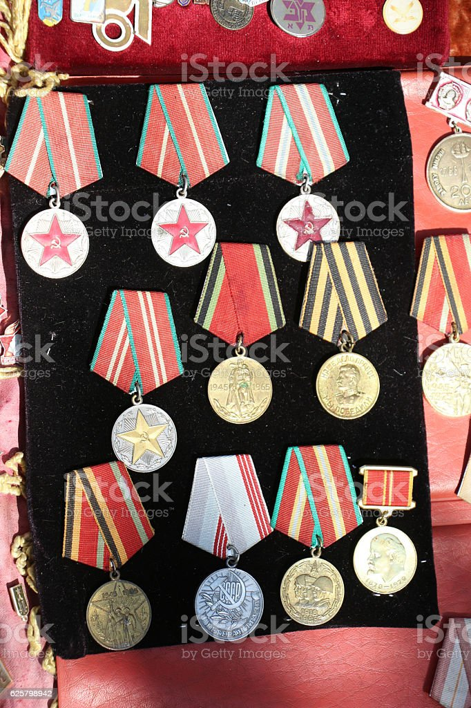 Veteran medals from Georgia stock photo