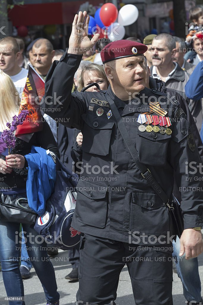SWAT (SOBR in Russia) veteran on parade royalty-free stock photo