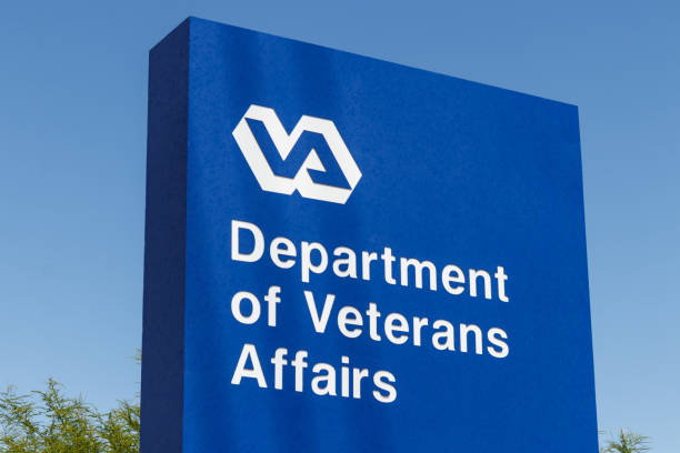 Veterans Affairs signage and logo. The VA provides healthcare services to military veterans IV stock photo