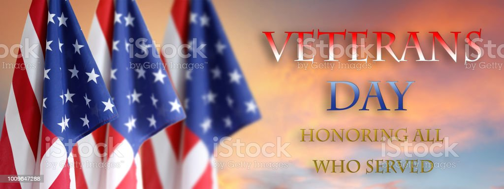 Veterans Day American flags stock photo