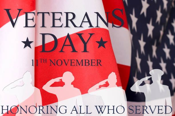 veterans day background. text veterans day 11 th november , the usa flag and the shadow of the soldier with the inscription honoring all who served. - veterans day zdjęcia i obrazy z banku zdjęć