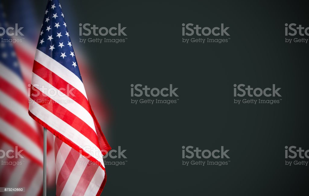 Veterans day concept of USA flag on green background stock photo
