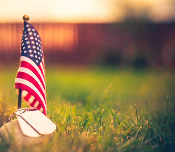 veteran's day in america. american flag and military dog tags - memorial day stock photos and pictures
