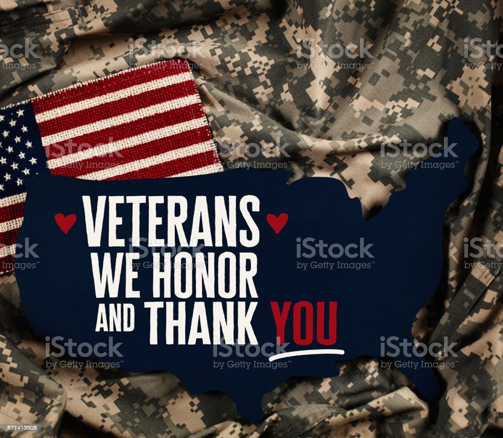 美國退伍軍人日美國國旗配軍裝 - 免版稅Armed Forces Day圖庫照片