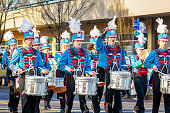 Portland, Oregon, USA - November 12, 2018: Madison High School Marching Band in the annual Ross Hollywood Chapel Veterans Day Parade, in northeast Portland.