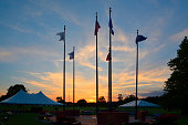 Veterans Memorial Flags at Sunset