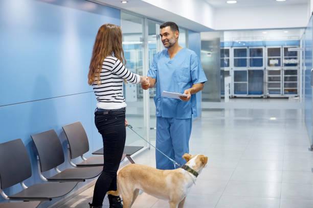 Tierarzt und Hund Besitzer Händeschütteln in Klinik – Foto