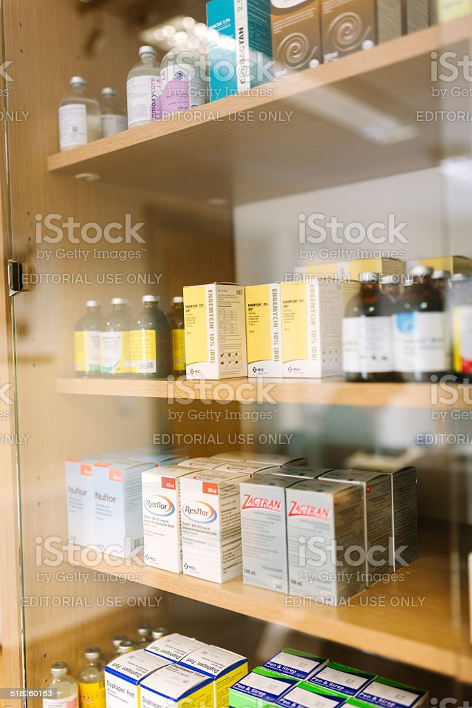 The medicine cabinet in a large animal Veterinary Hospital....