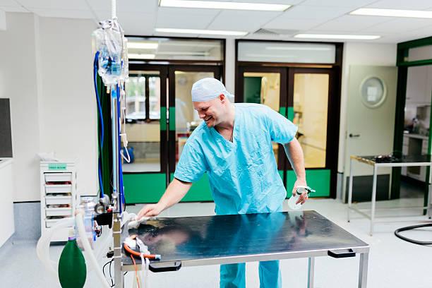 Veterinary Surgeon cleaning equipment stock photo