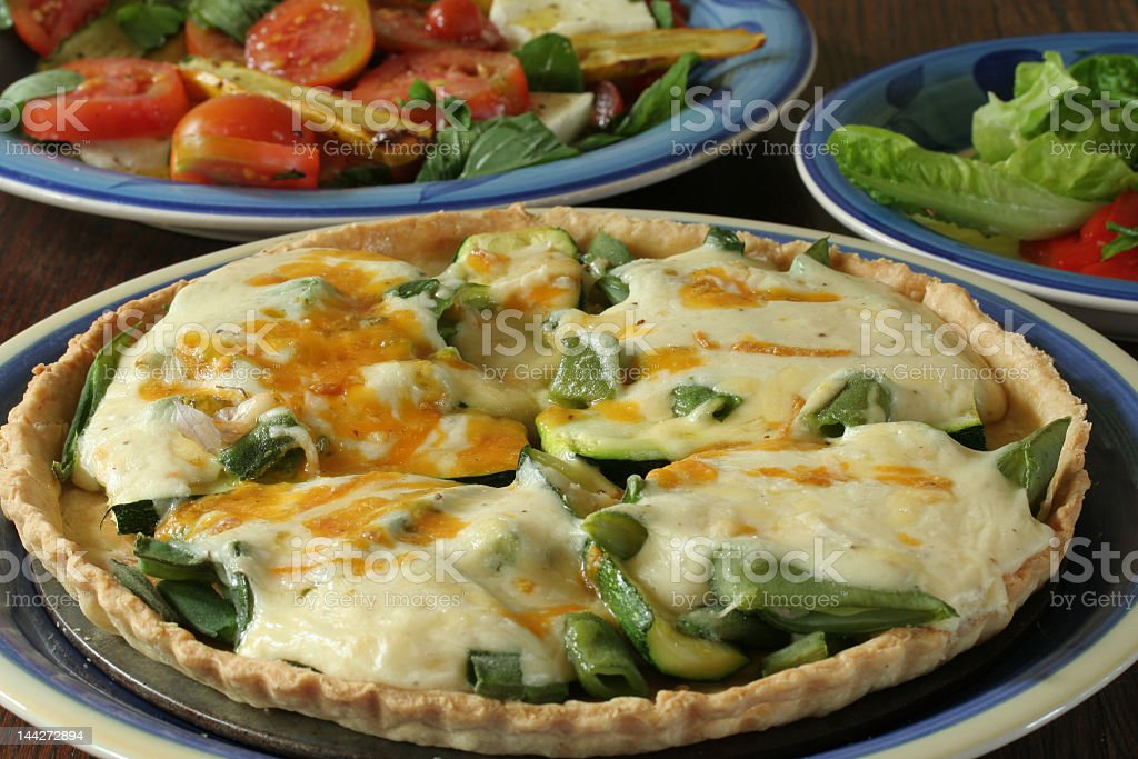 vetetable quiche with salads royalty-free stock photo