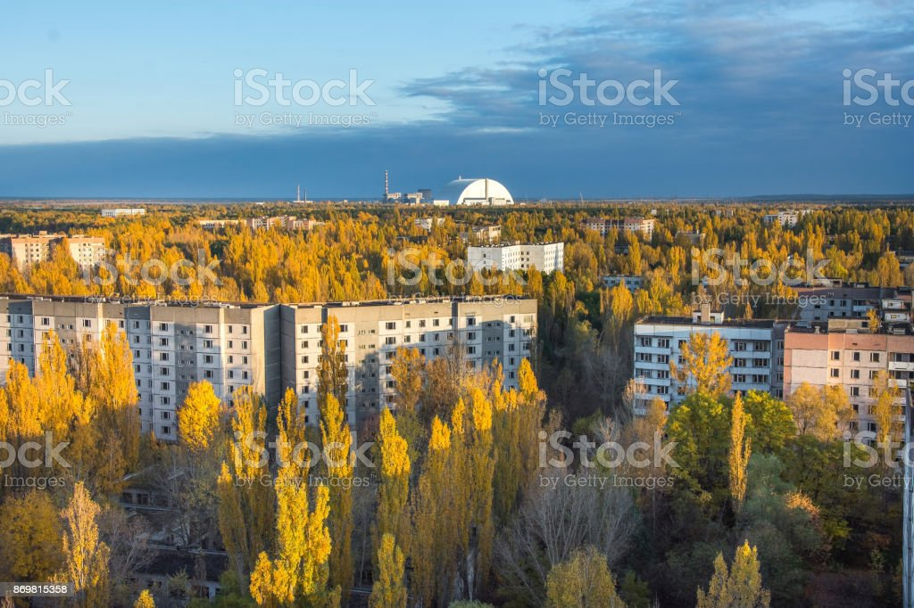 Vew from roof of 16-storied apartment house in Pripyat town, Chernobyl Nuclear Power Plant Zone of Alienation, Ukraine at autumn time stock photo