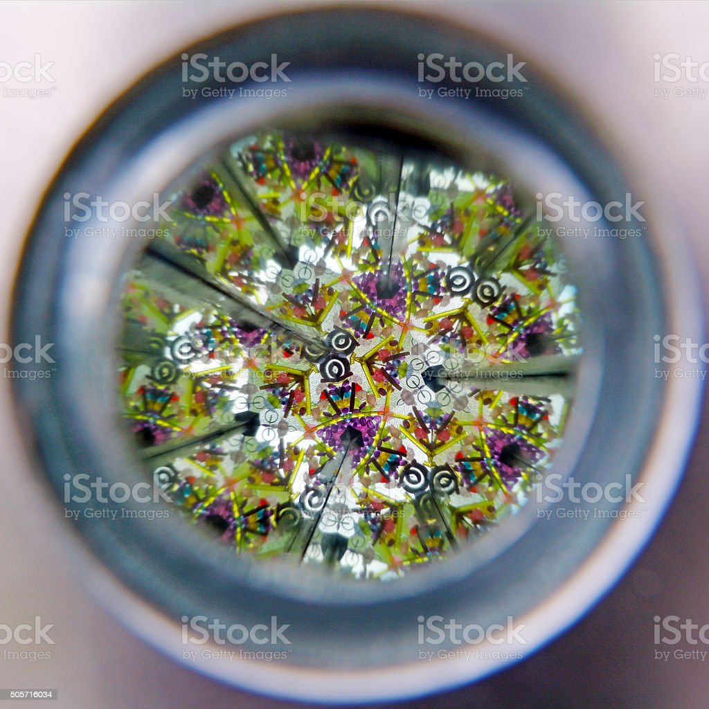Vew of Kaleidoscope cylinder tube stock photo