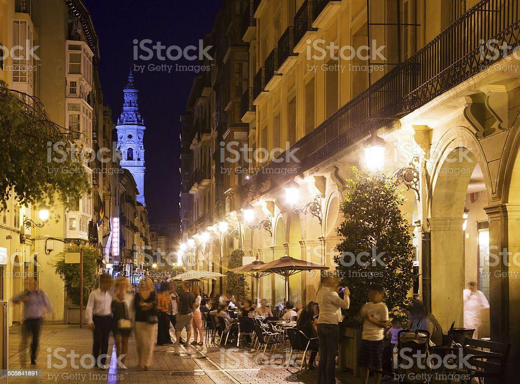 Vew of night street with restaurants in  Logrono royalty-free stock photo