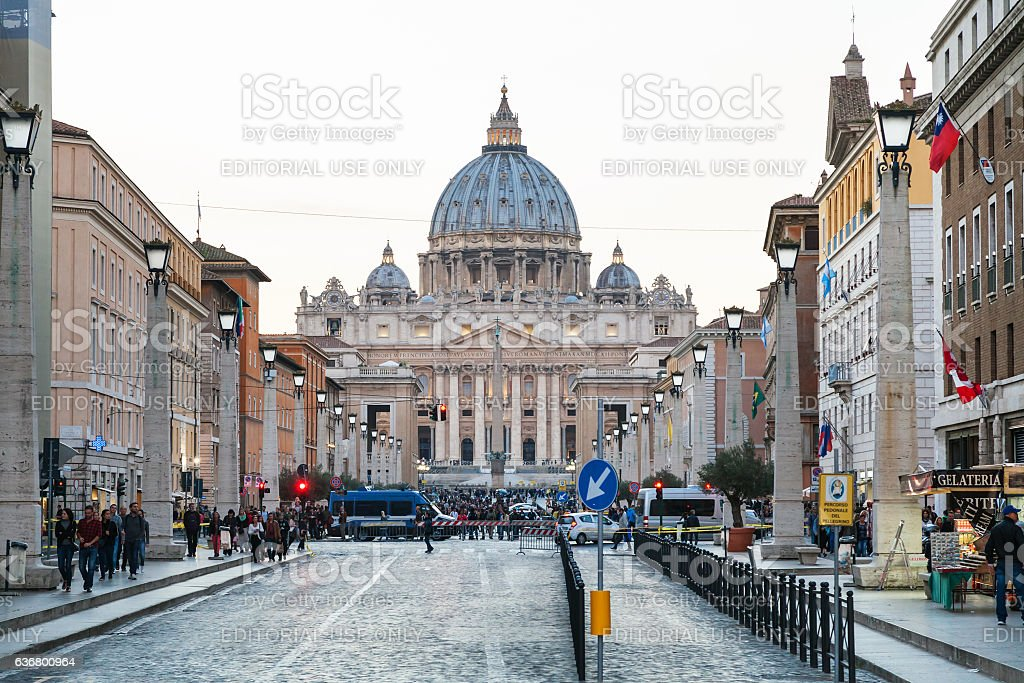 via Conciliazione and St Peter Basilica in Vatican stock photo