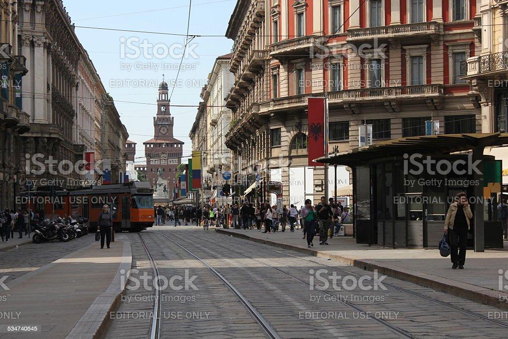Via Dante in Milan stock photo