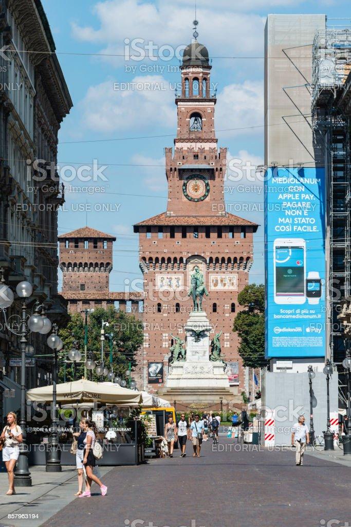 Via Dante, Milan, Italy stock photo
