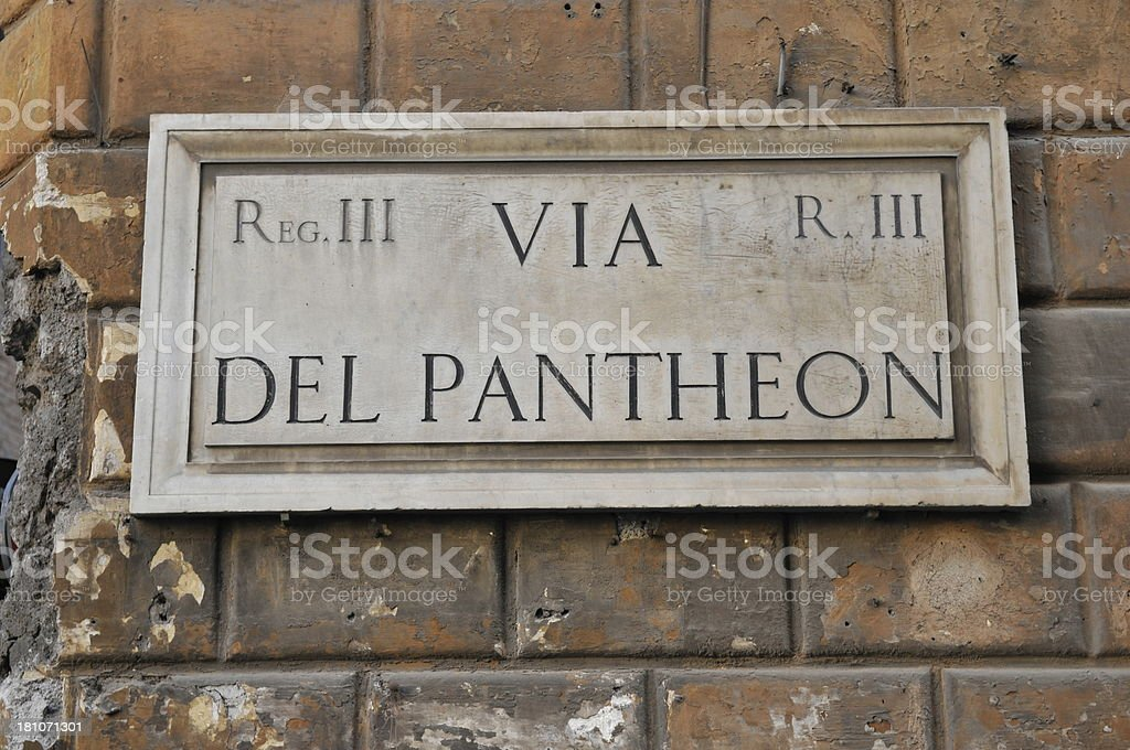 Via del Pantheon Sign stock photo