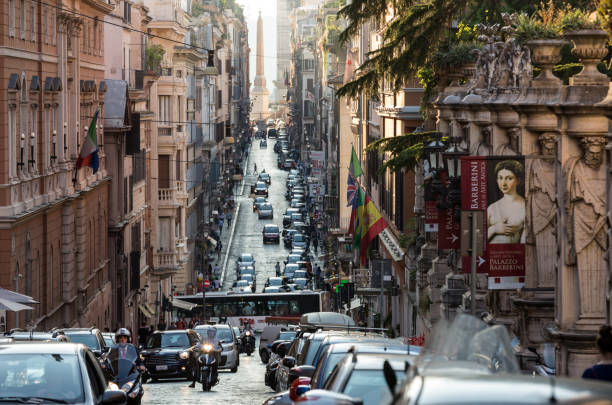Via delle Quattro Fontane in the late afternoon.  Rome, Italy