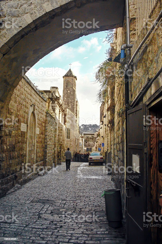 Via Dolorosa and the Ecce Homo Arch, in Jerusalem, Israel stock photo