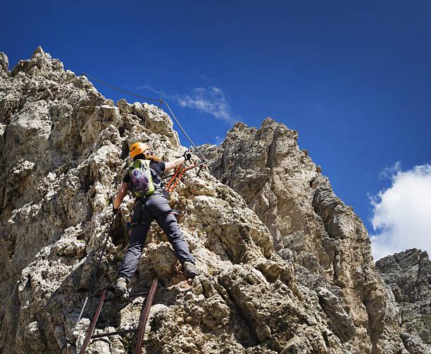 Via Ferrata Dolomites stock photo