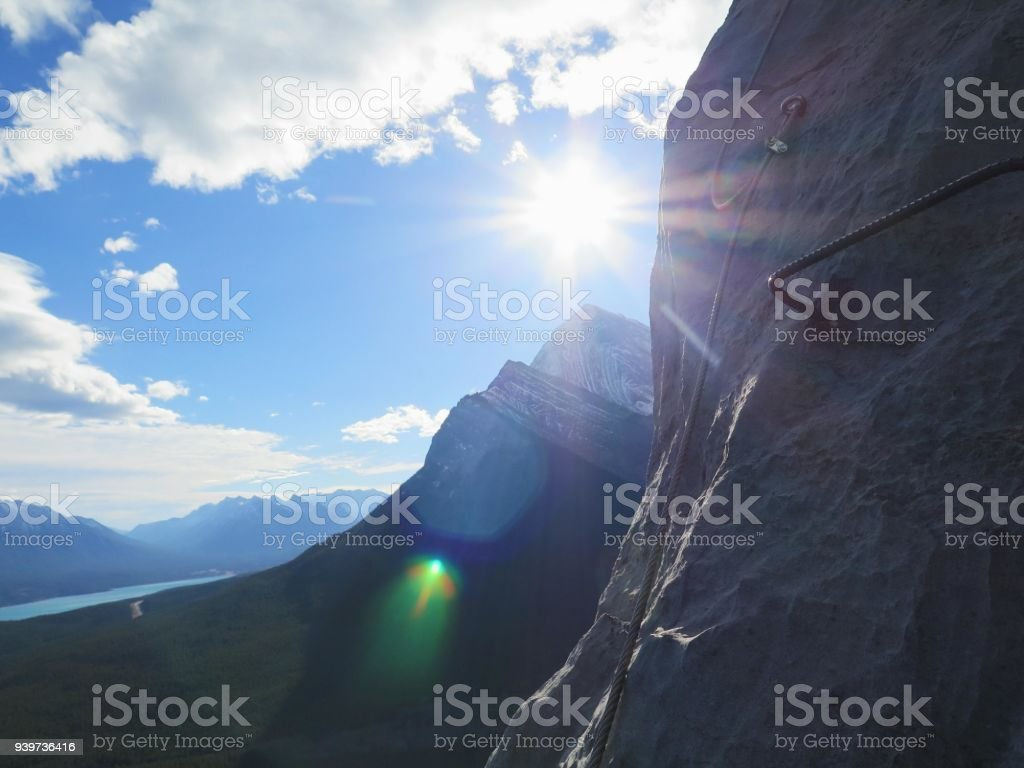 Via Ferrata in the Rocky Mountains stock photo