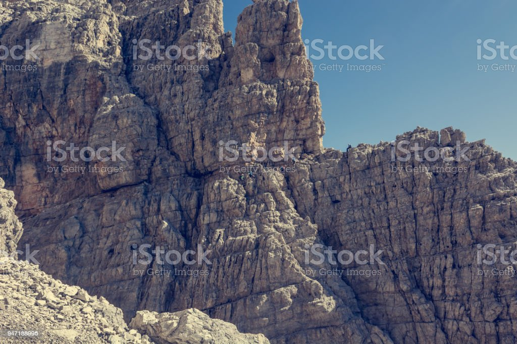 Via ferrata route carved into rock. stock photo