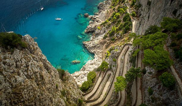 Via Krupp on Capri island, Italy Via Krupp on Capri island, Italy human parainfluenza virus stock pictures, royalty-free photos & images