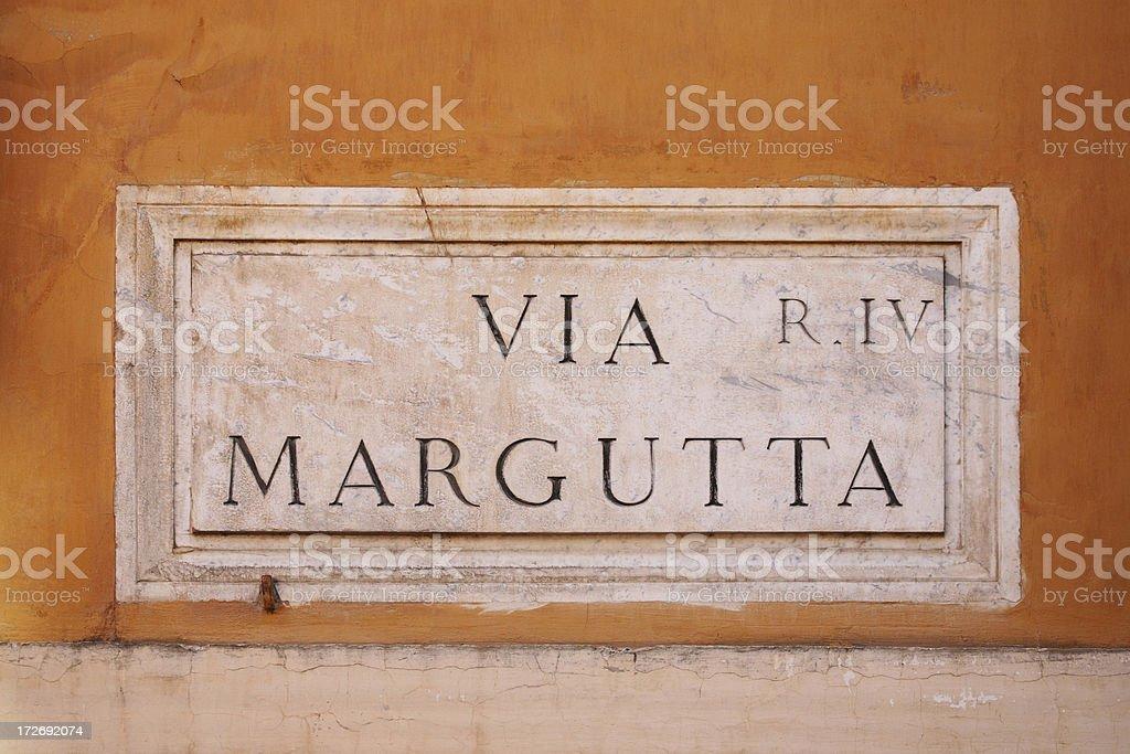 Via Margutta street name sign, Rome Italy royalty-free stock photo
