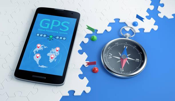 GPS Via Mobile App stock photo