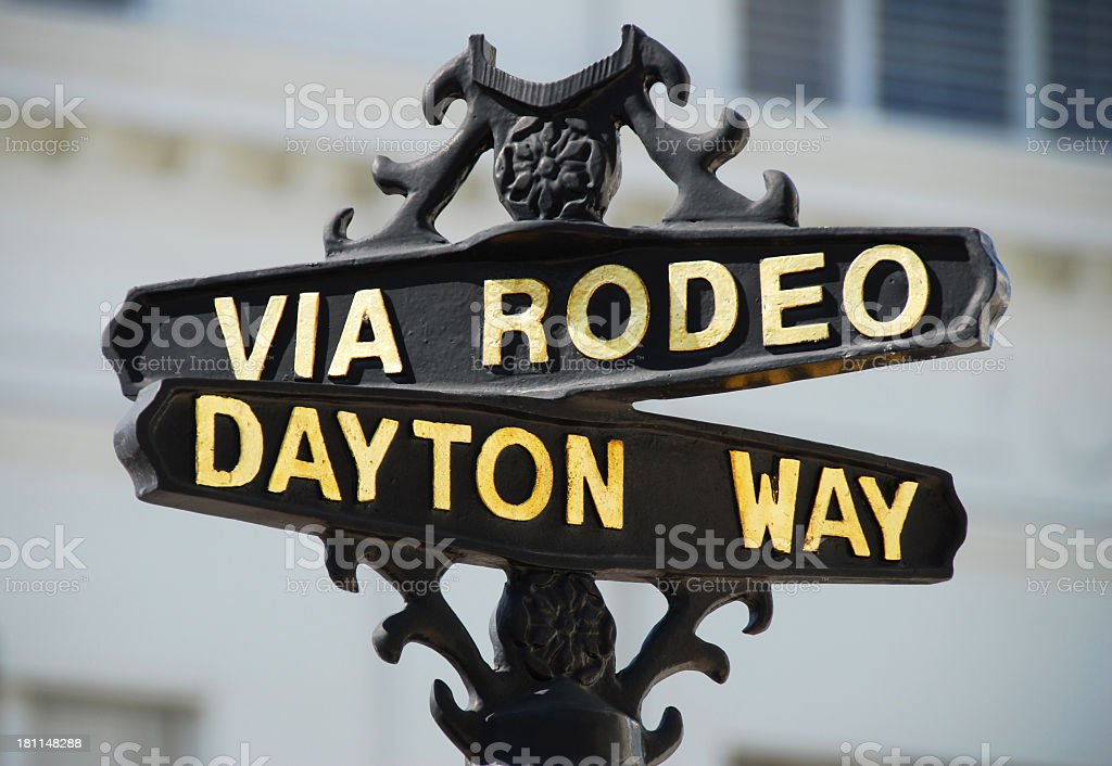 Via Rodeo and Dayton Way Sign, Beverly Hills, California royalty-free stock photo