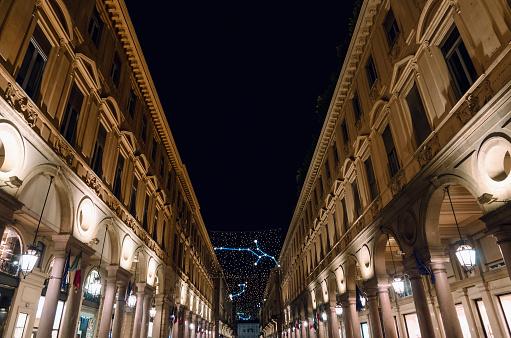 Via Roma, main shopping street of Turin (Piedmont, Italy) at night
