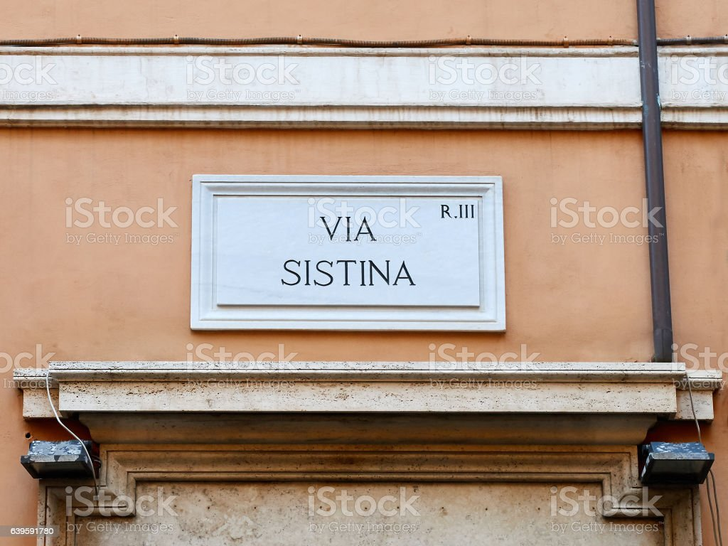 Via Sistina marble sign Rome Italy stock photo